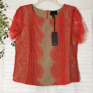 Greylin red lace top blouse sz S